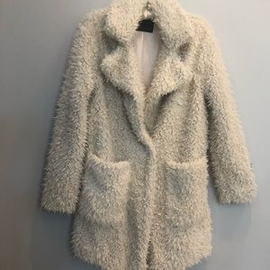 "Zara Ivory Faux ""Furry"" Coat sz XS"